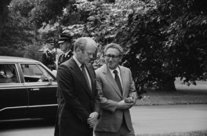 Thomas J O'Halloran photograph of Gerald Ford and Secretary of State Henry Kissinger, conversing, on the grounds of the White House, Washington DC, August 16th 1974.